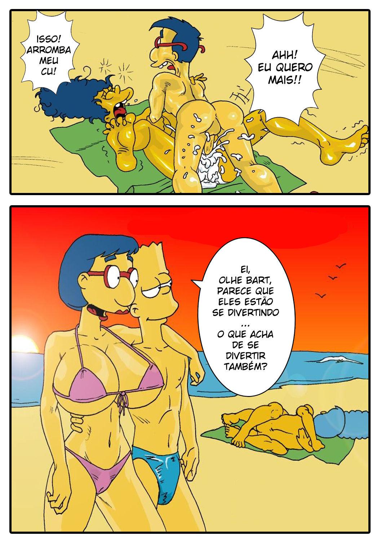 Milhouse na praia pegando Marge - Foto 5