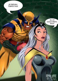 Wolverine gozando na Tempestade