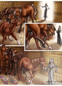 Patricinhas no celeiro com os cavalos